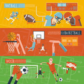 Team sport horizontal banners set — Stock Vector
