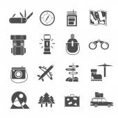 Hiking icons set black — Stock Vector