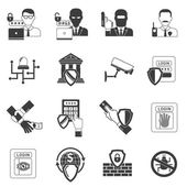Bank security black icons set — Stock Vector