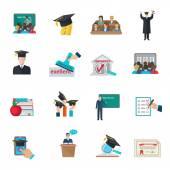Sada ikon vysokoškolského vzdělávání — Stock vektor