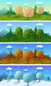 Four seasons landscape banners set — Stock Vector