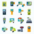 Atm payment flat icons set — Stock Vector #78372006