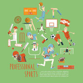 Professional competitive team sports concept poster — Stock Vector