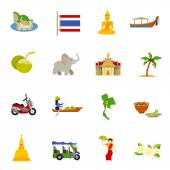 Thailand Icons Set — Stock Vector