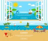Verano y Set de banderas de playa — Vector de stock