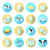 Milk flat icons set — Stock Vector