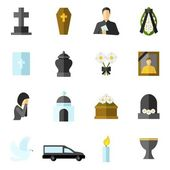 Funeral Flat Icons Set — Stock Vector