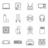 Computer Hardware And Accessories Icon Set — Stock Vector