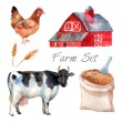 Watercolor Concept Farm Set — Stockvektor  #78966376