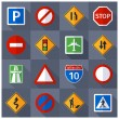 Постер, плакат: Road traffic signs flat icons set