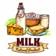 Milk Product Sketch Concept — Stock Vector #78967100