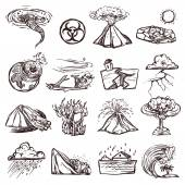 Natural Disaster Sketch Icon Set — Stock Vector