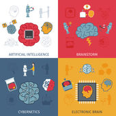 Artificial Intelligence Flat Set — Stock Vector