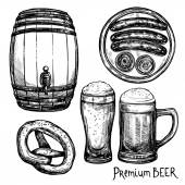 Пиво эскиз декоративные Икона Set — Cтоковый вектор