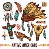 Native Americans Decorative Icon Set — Stock Vector