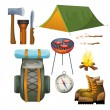 Tourism hiking camping flat pictograms collection — Vetor de Stock  #79988882