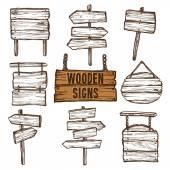 Набор деревянных знаков эскиз — Cтоковый вектор