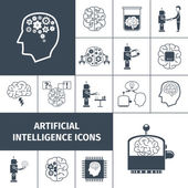 Artificial Intelligence Icons Black — Stock Vector