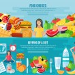 Weight loose diet flat banners set — Stock Vector #82164002