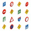Постер, плакат: Road traffic signs isometric icons set