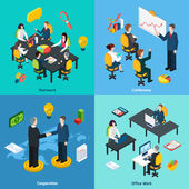 Business concept 4 isometric icons square — Stock Vector
