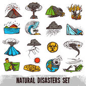 Natural Disasters Color Set — Stock Vector