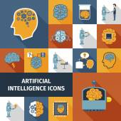 Artificial Intelligence Icons Set — Stock Vector