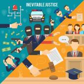 Justice Flat Color Concept — Stock Vector