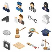 Justice Isometric Color Icon Set — Stock Vector