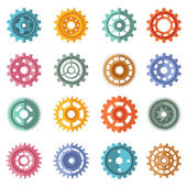 Various style color gears set — Stock Vector