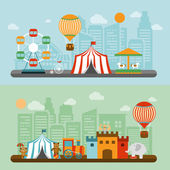 Circus in city flat banners set — Stock Vector