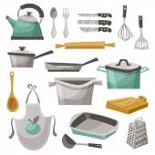 Kitchen Stuff Icons Set — Stock Vector