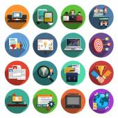 Freelance flat round icons collection — Stock Vector