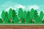 Game seamless summer landscape forest background — Stock Vector