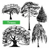 Trees hand drawn black icons set — Stock Vector