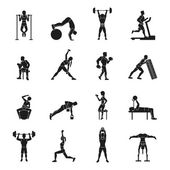 Workout Black And White Set — Stock Vector