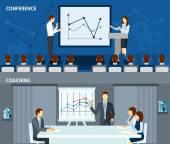 Public speaking 2 flat horizontal banners — Stock Vector
