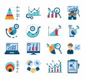 Data analysis flat icons collection — Stock Vector