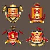 Heraldic Premium Realistic Emblems Set — Stock Vector