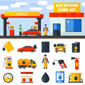 Gas petrol station icons collection banner — Stock Vector