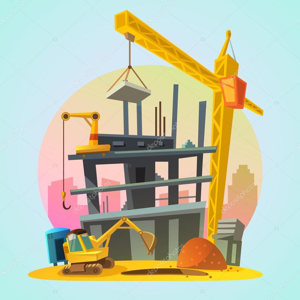 Hausbau karikaturen  Hausbau Karikatur — Stockvektor #97599718