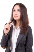Business girl ponders the idea — Stock Photo