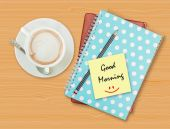 Good morning and smile on blank paper with coffee cup — Stock Photo