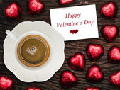 """Happy Valentine's Day"" card with coffee and chocolate — Foto Stock"