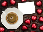 St Valentine's breakfast with coffee and chocolate — Stock Photo