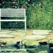 Bench in garden with vintage filter — Stock Photo #61849823