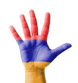 Open hand raised, multi purpose concept, Armenia flag painted - — Stock Photo