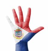 Open hand raised, multi purpose concept, Sint Maarten (Neth.) fl — Stock Photo