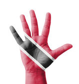 Open hand raised, multi purpose concept, Trinidad and Tobago fla — Stock Photo