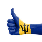 Hand with thumb up, Barbados flag painted as symbol of excellenc — Stock Photo